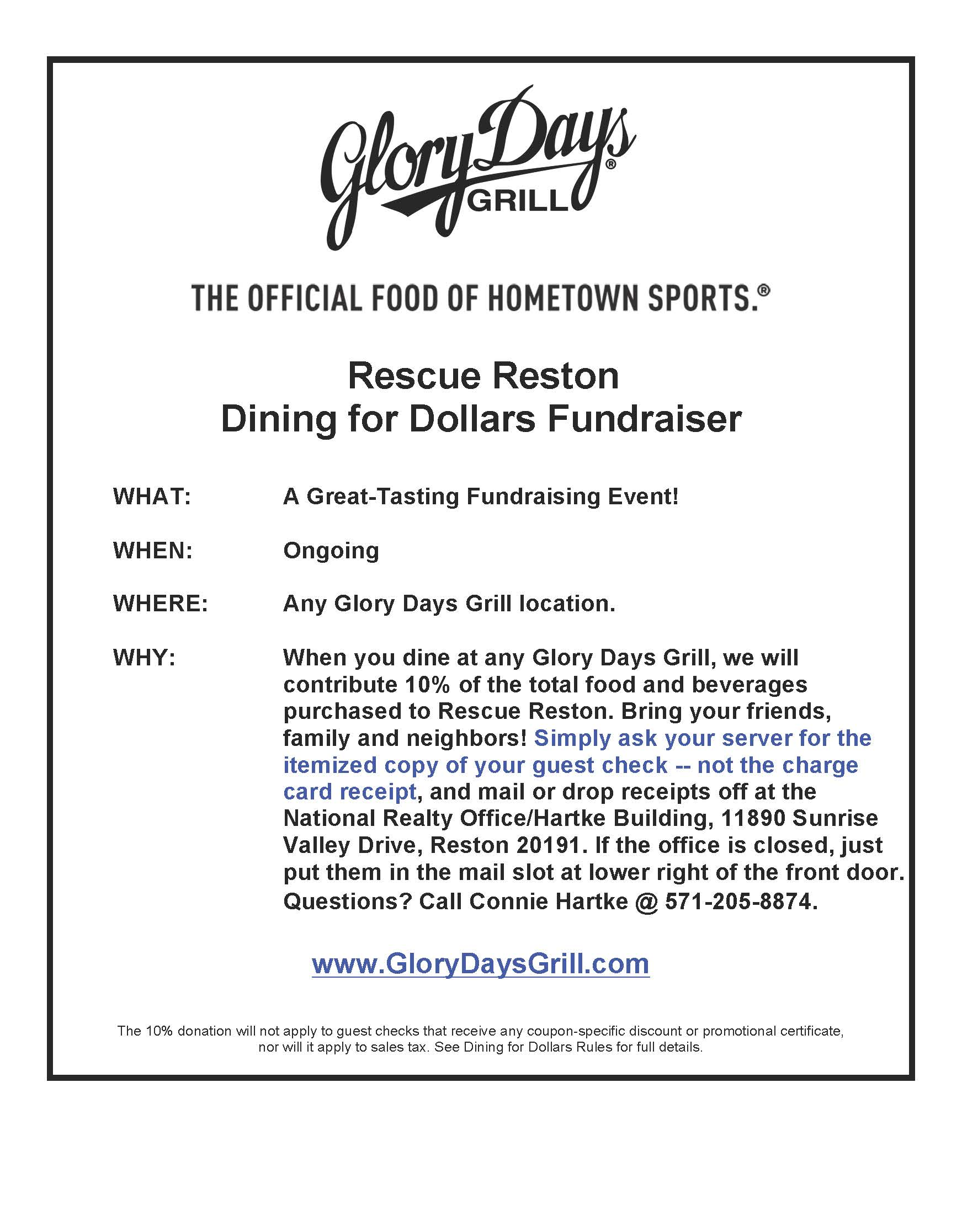 Glory Days Grill Flyer